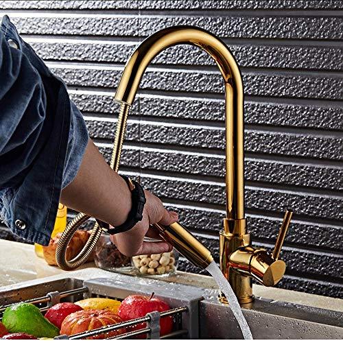 Waterkraan keukenarmaturen goud enkele handgreep uittrekken keukenkraan eengat montage handvat 360 graden water mengkraan mengkraan