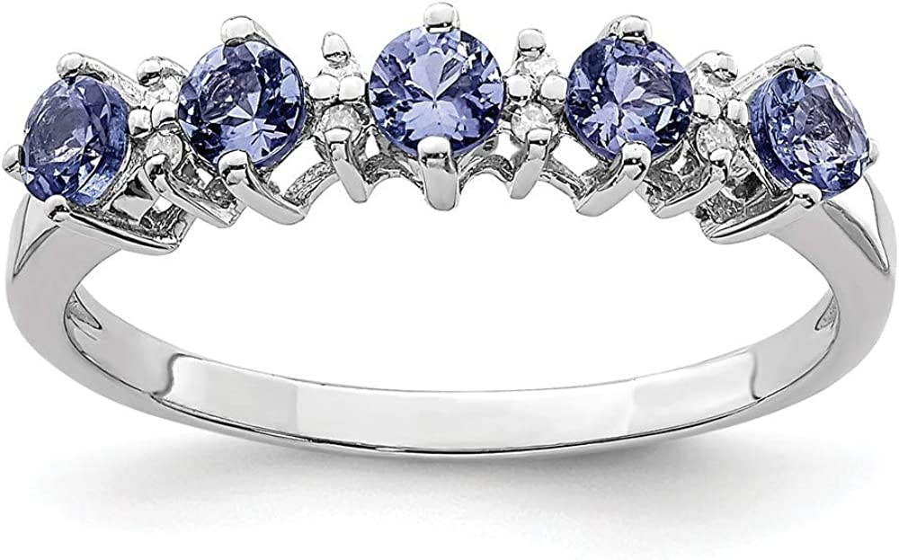 925 Sterling Silver Blue Max 42% OFF Tanzanite Diamond Ring Stone Limited Special Price Band Gemst