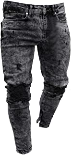 Homeparty Mens Skinny Stretch Denim Pants Distressed Ripped Freyed Slim Fit Jeans Trousers
