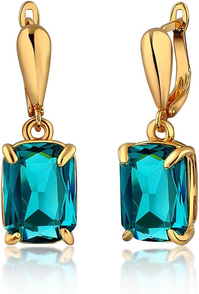 dnswez Fashion Dangle Earrings Blue Grey Crystal Cz Earrings Cubic Zironia Drop Earring for Women girls