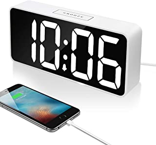 "9"" Large LED Digital Alarm Clock with USB Port for Phone Charger, 0-100% Dimmer, Touch-Activated Snooze, Outlet Powered (White)"
