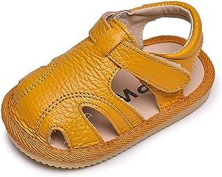 Sandales Bébé Fille Garçons Chaussures Premier Pas pour Enfants Cuir Souple Sandale D'été Bout Fermé Mixte Enfant