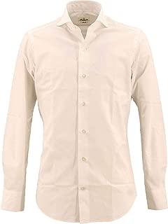 [GIANNETTO ジャンネット] メンズ スリムフィット カッタウェイ コットン ブロードシャツ WASH SLIM FIT 0103-103300L84 001(ホワイト)