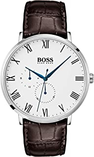 Hugo Boss Men's White Dial Color Leather Strap Watch - 1513617