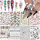 Nail Art Stickers Decal Nail Art Accessories Nail Decorations 3D Self Adhesive Nail Stickers for Nail Art Designs Luxury Street Fashion Snake Dragon Tiger Lion Nail Decals for Acrylic Nails (8 Pcs)