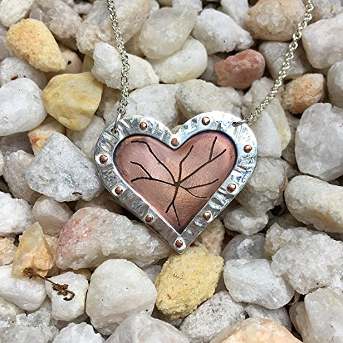 Handcrafted Sterling Silver and Copper Shattered Heart Necklace, Unique Mixed Metal Statement Necklace
