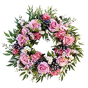 Agirlgle Spring Wreath Artificial Rose Flower Wreath for Front Door 22 inch Springtime Faux Flower and Artificial Flower Hanger Indoor Natural Vine Wreath Home Decor for Window, Outdoor, Wedding
