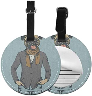 Modern round luggage tag Pug Easy to carry Abstract Image of a Dog with Human Proportions with Jacket Scarf and Jeans Absurd,Diameter3.7