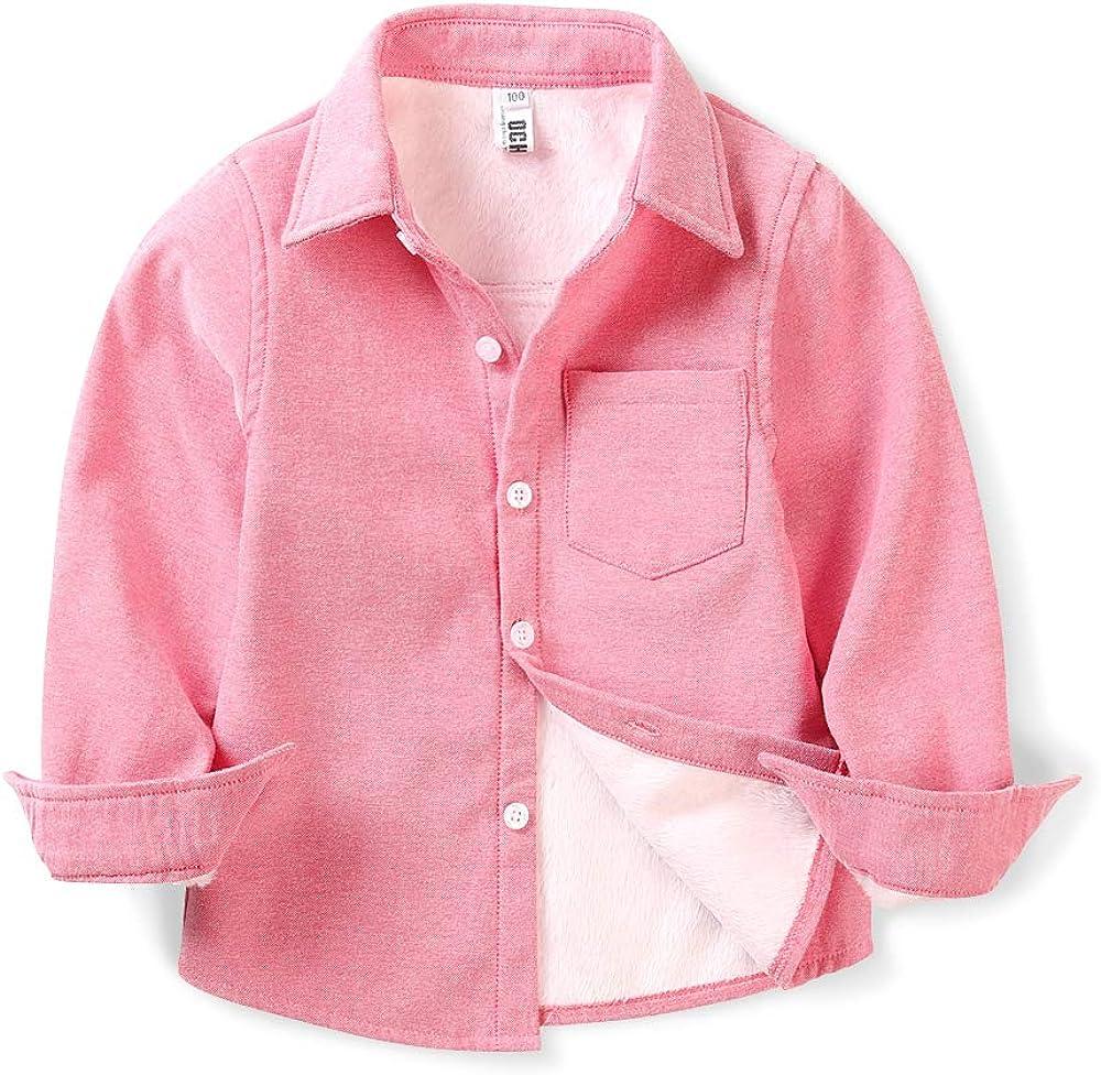 Boys' Fleece-Lined Oxford Dress Shirt, Little Big Kids Long Sleeve Button Down Warm Top