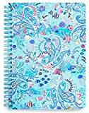 Vera Bradley Blue Mini Spiral Notebook, 8.25' x 6.25' with Pocket and 160 Lined Pages, Paisley Wave