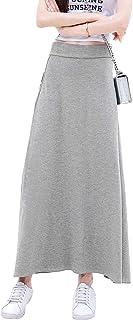 【TaoTech】 ロングスカート レディース フレア Aライン スカート 着痩せ ハイウエスト ゴム 無地 シンプル