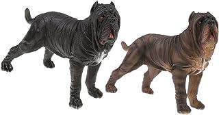 Toygogo 2ピースプラスチック現実的な動物ネオポリタンマスティフアクションフィギュアペット犬のおもちゃプレイセット、子供幼児自然学習おもちゃ家の装飾グッズ
