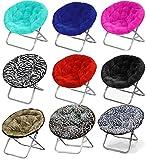 Large Faux Fur Folding Saucer Moon Chair - Lightweight Construction & Oversized...