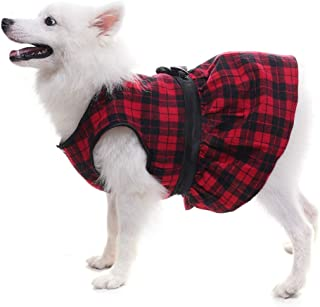 OFPUPPY Plaid Fleece Dress Jacket for Large Dogs Red Decent Style with Bowtie Puppy Winter Clothes Coat