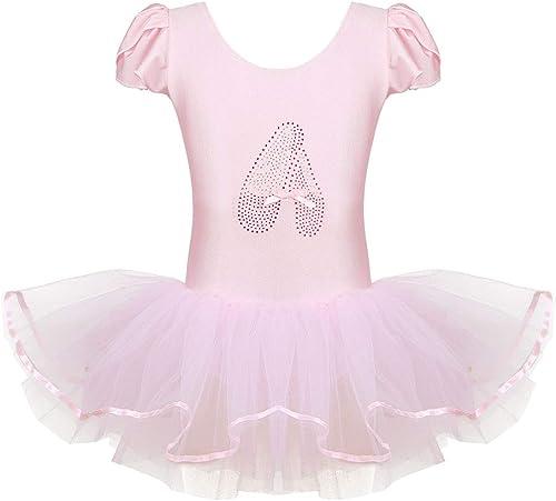 inhzoy Enfant Fille Justaucorps de Danse Ballet Coton Robe de Gymnastique Leotard de Sport sans Manche et Jupe en Mousseline 3-14 Ans