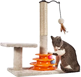 PEEKAB Cat Scratching Post Sisal Rope Scratcher Tree Soft Cat Toys 3 Level Towers Tracks Roller