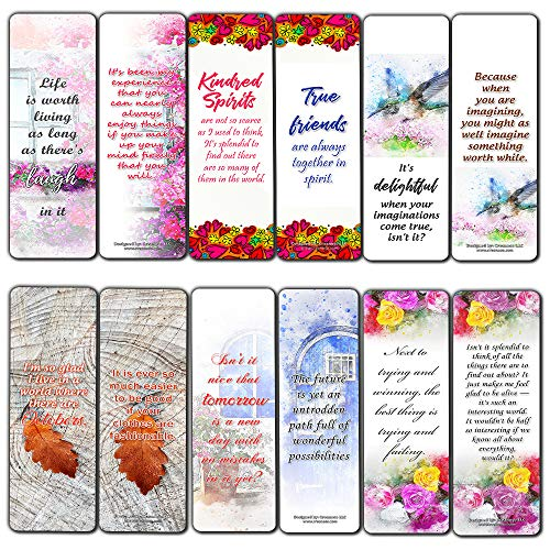 Flower Bookmarks Cards (60-Pack) - Anne of Green Gables Classic Literary Quotes - Bookish Reader Reading Gifts for Students Women Kids Boys Girls