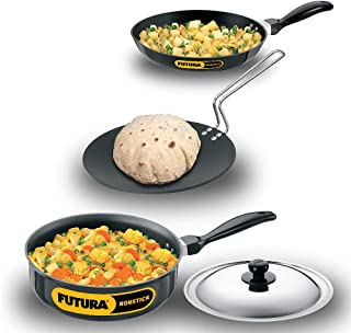 Futura Nonstick Cookware Set 2, QS3 contains 3 Products and 1 SS lid
