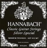 Hannabach Cuerdas para Guitarra Clásica Serie 815, Tensión Media, Plateado Especial, Set
