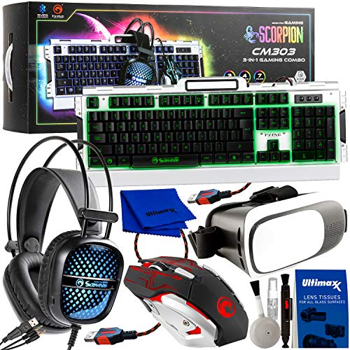 Professional PC & VR Gaming Accessory Bundle - Includes: Marvo Scorpion CM-303 3-in-1 Gaming Combo (Keyboard, Mouse & Headset) + Virtual Reality Glasses/Goggles + Deluxe Equipment Maintenance Kit
