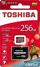 TOSHIBA Micro SD Card Memory Card Read 256GB 256G EXCERIA M303 with SD Adapter microSDXC UHS-I U3 Card 4K Class10 V30 A1 microSD 98MB/s Write 65MB/s (THN-M303R2560A2)
