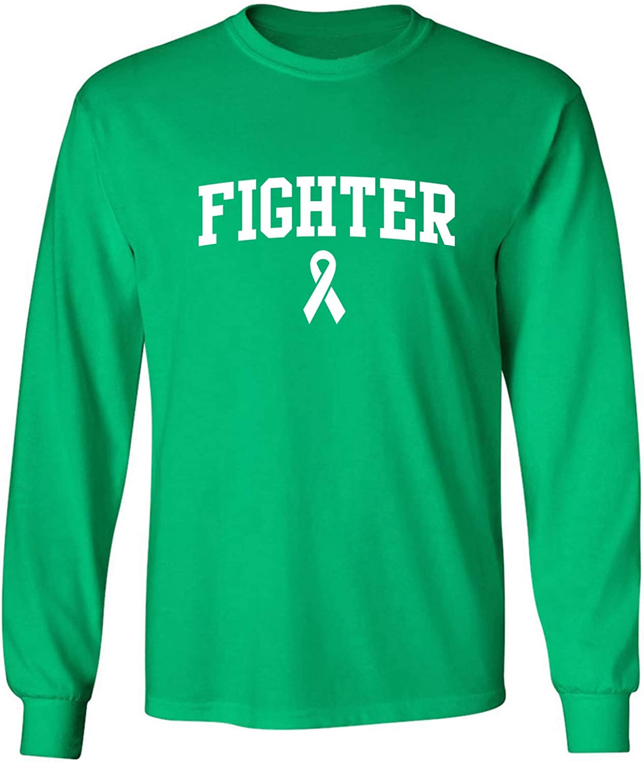 Fighter Ribbon Adult Long Sleeve T in Kelly Green - XXXXX-Large