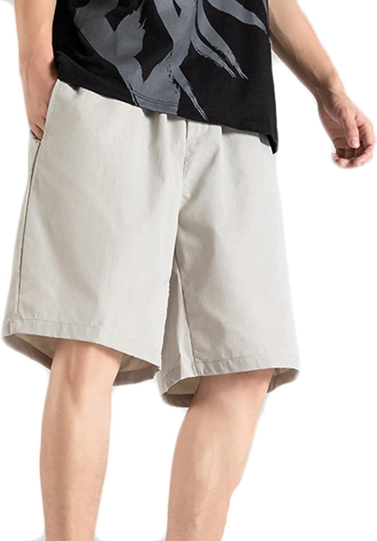 Mens Leisure Shorts Summer Wild Joggers Thin Loose Straight Drawstring Beach Wide-Leg Skin-Friendly Leisure Five-Point Pants