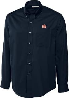 NCAA Auburn Tigers Men's Long Sleeve Epic Easy Care Fine Twill Shirt, X-Large, Navy Blue