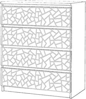 comprar comparacion Moonwallstickers.com IKEA Malm Overlays - Adecuado para Muebles IKEA MALM, PVC Blanco de 5 mm, 4 Drawers – Coral
