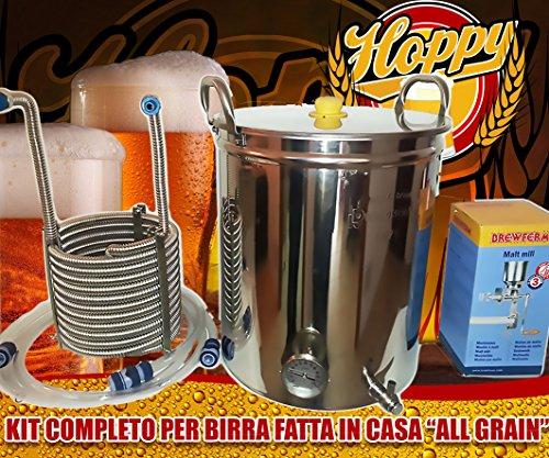 Hoppy Kit Completo Birra All Grain Pentola 70 Lt Filtrante + Serpentina Inox + Mulino