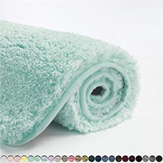 Suchtale Bathroom Rug Non Slip Bath Mat for Bathroom (16 x 24, Aqua) Water Absorbent Soft Microfiber Shaggy Bathroom Mat M...