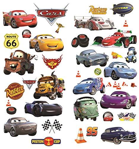 Cars 3D Cartoon Wandaufkleber für Schlafzimmer Jungen und Mädchen Wandbild Aufkleber Größe: Groß 76 cm X 72 cm