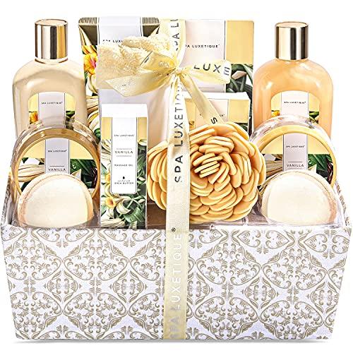 Spa Luxetique Coffret de Bain et de Soins au Parfum de Vanille, 12 Pièces Coffret Cadeau, Bombes de Bain, Sel de bain, Cadeau de Saint-Valentin pour les Femmes
