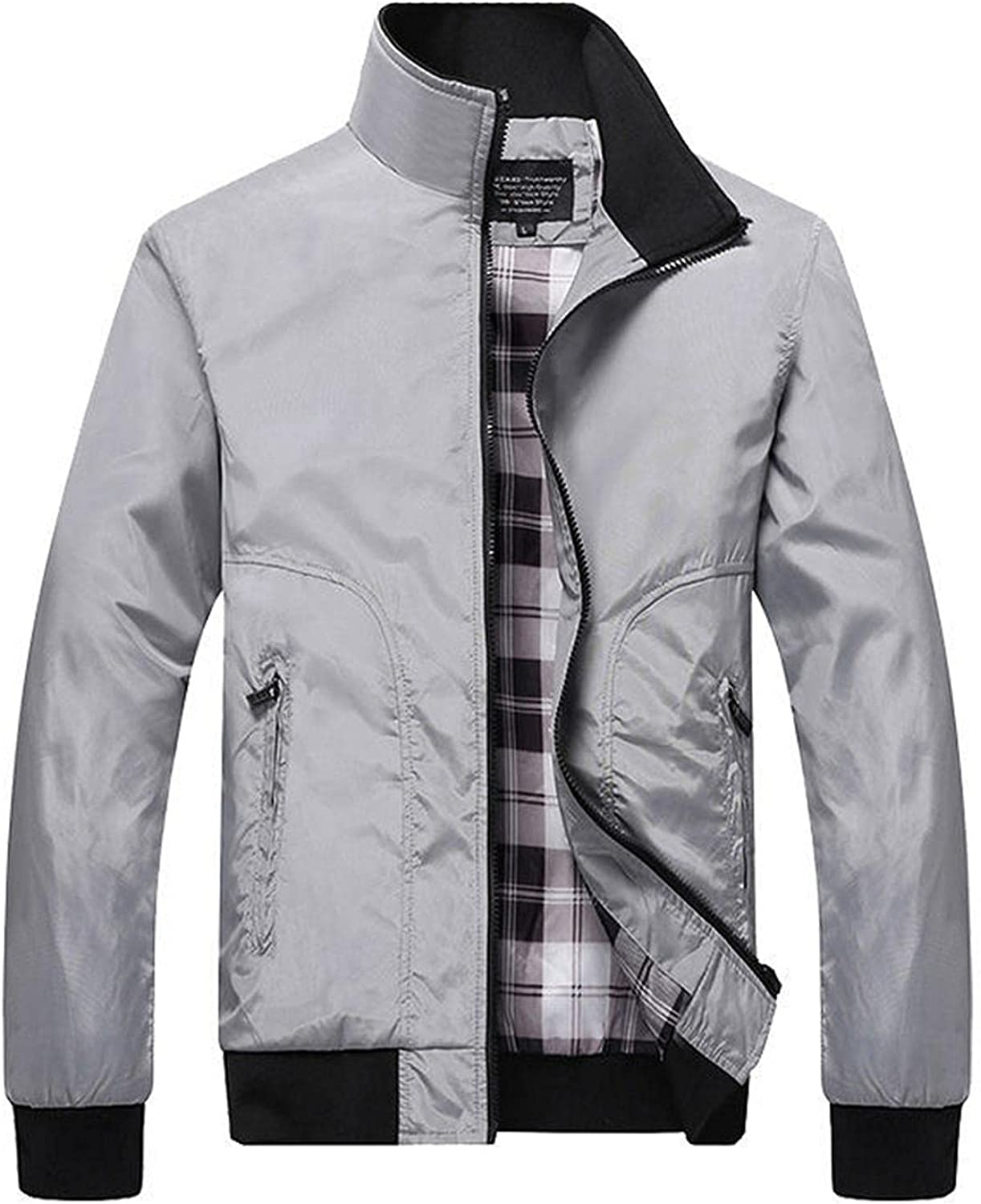 LEIYAN Mens Casual Long Sleeve Jackets Zip Up Stand Collar Thick Warm Open Front Cardigan Coat Anorak with Zipper Pockets