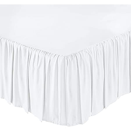 Kbmoon Split Corner Bed Skirt Twin XL White Solid 11 inches Drop Super Soft Cotton 410 Thread Count