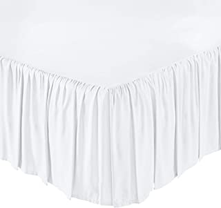KP Linen Ruffled Bed Skirt with Split Corners Twin Size (24 Inch Drop) Platform Dust Ruffle with 400 Thread Count Microfiber Wrinkle Free(White Solid)