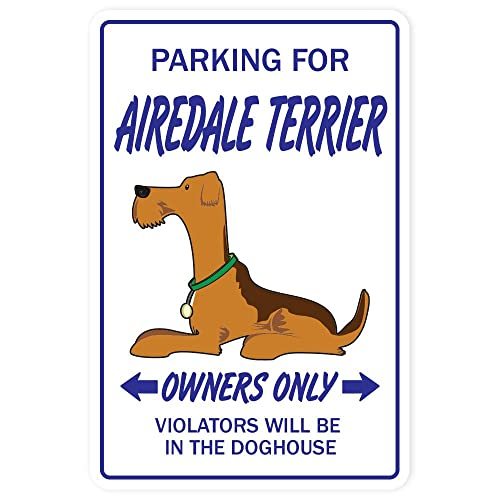 SignMission Airedale Terrier Novelty Sticker | Indoor/Outdoor | Funny Home Décor for Garages,