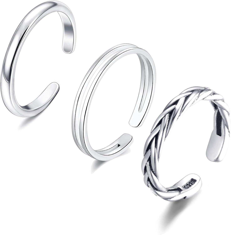 Elitven 3PCS Braided Line Toe Rings Denver Mall Adjus Sterling Ranking TOP8 Open - Silver