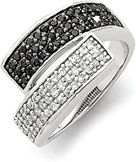 925 Sterling Silver Black Clear Cubic Zirconia Cz Overlapping Band Ring Fine Mothers Day Jewelry For Women Gifts For Her