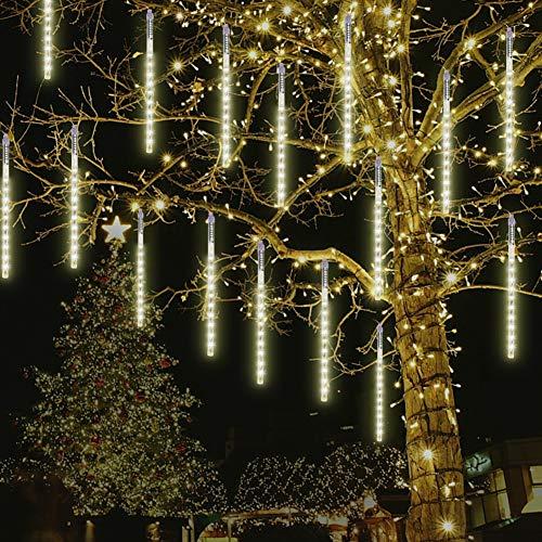 CrazyFire Meteorschauer Lichter, 30cm 10 Röhren 240 LEDs Meteorschauer Regen Lichter, Wasserdichte Schneefall Lichterkette, Fallende Lichter für Zuhause, Festival, Garten, Straßen- Warmweiß