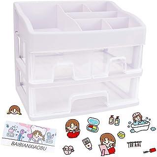 LZYMSZ Organiseur de bureau, boîte de rangement en plastique avec tiroirs, support pour papeterie, crayons et cosmétiques...