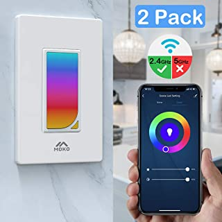 MoKo Smart Switch, 2 Pack WiFi Light Switch with Built-in RGB Dimmer Night Light, Remote Control & Voice Control, Work with Alexa & Google Home, Timer Function, Only Supports 2.4GHz Network - White