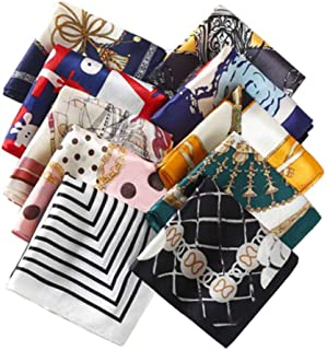 "10PCS 19.7"" x 19.7"" Fashion Small Square Silky Scarf Printed Satin Neckerchief Multipurpose Neck Head Scarf Necktie Headba..."