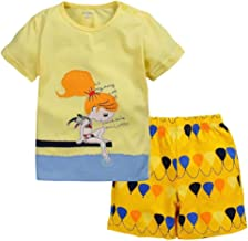 SZCQ Toddler Girls 2-Pieces Clothes Sets Short Tshirt Pants Suit Baby Hawaii Sea Outfit Embroidery Cotton Jumpsuit