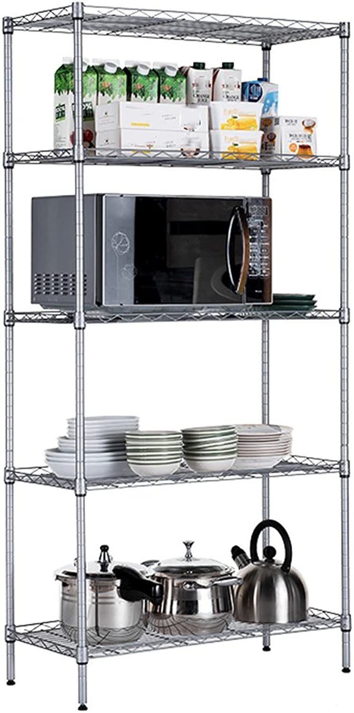 Five-Storey Racks Widened Kitchen Living Room Bathroom Storage Rack Metal Carbon Steel Bookshelf TIANTA (color   Silver)