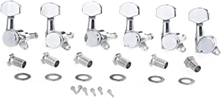 Musiclily Pro 6 inline Guitar Locking Tuners Tuning Pegs Machines Heads Set for Stratocaster Telecaster Style Electric Guitar Parts,Chrome