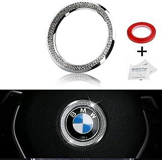 LECART Crystal Bling Steering Wheel Emblem Badge Logo Cover Trim Circle Ring Center Decor Logo Decoration Interior Accesso...
