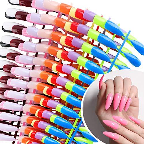 UFLF 288 Stück Falsche Nägel Lang Künstliche Nägel Kunstnägel Tips Bunt Nail Tips Fake Nails DIY Nagelspitzen - 12 Farbe 10 Größe