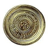 Divine Hindú Puja Thali hecho a mano, símbolo de Om grabado y regalos religiosos, diámetro de 19 cm aproximadamente, para regalos de diwali y festivales (artículo religioso Pooja Thali)