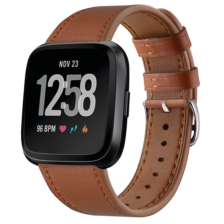 海洋の黒板株式Turnwin For Fitbit Versa に適応交換用レザーバンド 上質腕時計ベルト ビジネス風 おしゃれな交換用革リストバンドfitbit versaに専用ベルト ウェアアクセサリー本革製 8有り柔軟快適 (ブラウン)